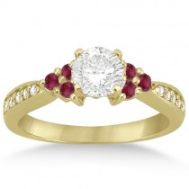 Floral Diamond and Ruby Engagement Ring 14k Yellow Gold (0.30ct)