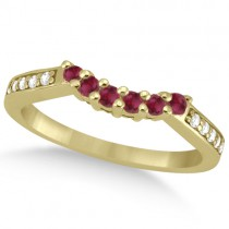 Floral Diamond and Ruby Wedding Ring 18k Yellow Gold (0.30ct)