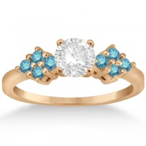 Designer Blue Diamond Floral Engagement Ring 14k Rose Gold (0.24ct)