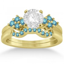 Blue Diamond Engagement Ring & Wedding Band 14k Yellow Gold (0.34ct)