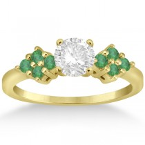 Designer Green Emerald Floral Engagement Ring 14k Yellow Gold (0.28ct)