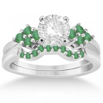 Green Emerald Engagement Ring & Wedding Band in Platinum (0.40ct)