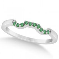 Pave Set Green Emerald Contour Wedding Band 14k White Gold (0.12ct)
