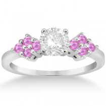 Designer Pink Sapphire Floral Engagement Ring in Platinum (0.35ct)