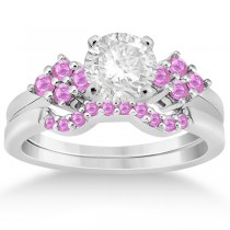 Pink Sapphire Engagement Ring & Wedding Band 14k White Gold (0.50ct)