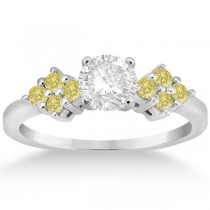 Designer Yellow Diamond Floral Engagement Ring 14k White Gold (0.24ct)