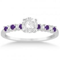 Petite Diamond & Amethyst Engagement Ring Platinum (0.15ct)