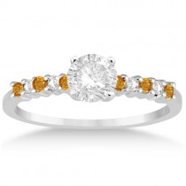 Petite Diamond & Citrine Engagement Ring 14k White Gold (0.15ct)