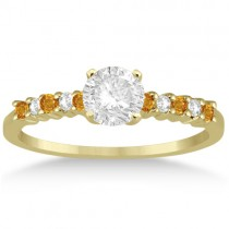 Petite Diamond & Citrine Engagement Ring 14k Yellow Gold (0.15ct)
