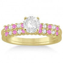 Diamond & Pink Sapphire Bridal Set 18k Yellow Gold (0.35ct)