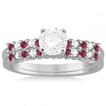 Petite Diamond & Ruby Bridal Set 18k White Gold (0.35ct)