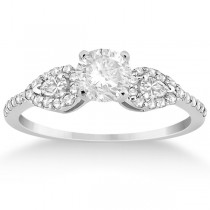 Pear Cut Side Stone Diamond Engagement Ring 14k  White Gold (0.33ct)