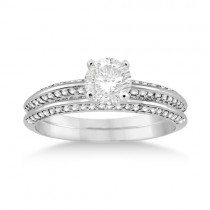 Knife Edge Engagement Ring & Wedding Band Set 18k White Gold (0.52ct)