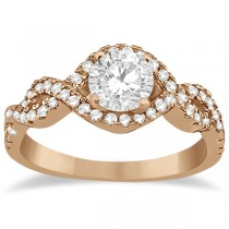 Diamond Halo Infinity Engagement Ring In 14K Rose Gold (0.39ct)