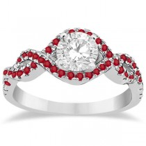 Ruby Halo Infinity Engagement Ring In 18K White Gold (0.39ct)