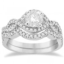 Diamond Infinity Halo Engagement Ring & Band Set 14K White Gold (0.60ct)