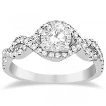Diamond Infinity Halo Engagement Ring & Band Set 14K White Gold (0.60ct)
