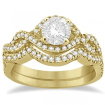 Diamond Infinity Halo Engagement Ring & Band Set 18K Yellow Gold (0.60ct)