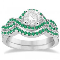 Emerald Infinity Halo Engagement Ring & Band Set Platinum (0.60ct)