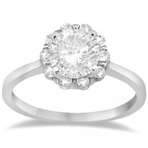 Floral Diamond Halo Engagement Ring Setting 18k White Gold (0.20ct)