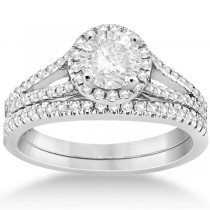 Angels Halo Diamond Engagement Ring & Wedding Band 18k White Gold