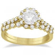 Halo Diamond Engagement Ring and Wedding Band 14K Yellow Gold (0.56ct)