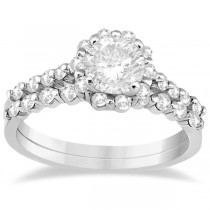 Halo Diamond Engagement Ring and Wedding Band Platinum (0.56ct)