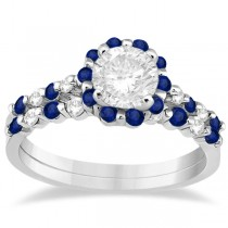 Diamond and Sapphire Engagement Ring Bridal Set 14K White Gold (0.94ct)