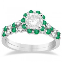 Diamond and Emerald Engagement Ring Bridal Set 14K White Gold (0.94ct)