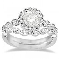 Floral Diamond Halo Bridal Set Ring & Wedding Band Palladium (0.36ct)