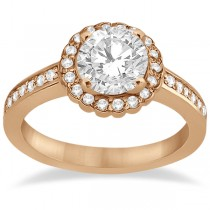 Modern Flower Halo Diamond Engagement Ring 14k Rose Gold (0.29ct)