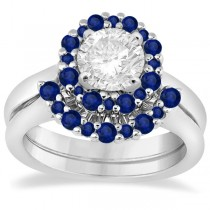 Halo Blue Sapphire Engagement Ring & Band Bridal Set Platinum (1.08ct)
