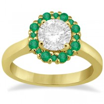 Prong Set Floral Halo Emerald Engagement Ring 14k Yellow Gold (0.68ct)