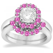 Halo Pink Sapphire Engagement Ring & Band 14K White Gold (1.08ct)