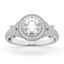 Halo Diamond Butterfly Engagement Ring 14k White Gold (0.33ct)