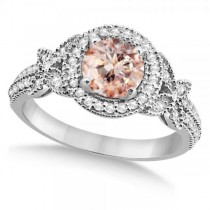 Halo Diamond Butterfly Morganite Engagement Ring 14k White Gold (1.33ct)