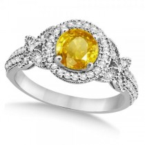Halo Diamond Butterfly Yellow Sapphire Engagement Ring 14k White Gold (1.33ct)