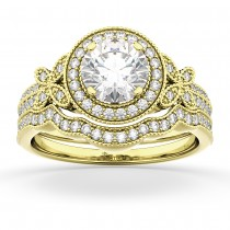 Butterfly Diamond Engagement Ring & Wedding Band 18k Yellow Gold (0.58ct)