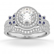 Butterfly Diamond & Sapphire Engagement Set 14k White Gold (0.50ct)
