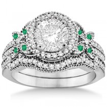 Butterfly Diamond & Emerald Engagement Ring & Band 14k White Gold (0.50ct)