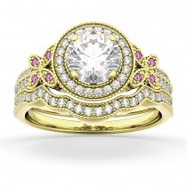 Butterfly Diamond & Pink Sapphire Engagement Set 14k Yellow Gold (0.50ct)