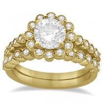 Diamond Halo Flower Engagement Ring & Wedding Band 14k Yellow Gold (0.53ct)
