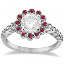 Flower Diamond and Ruby Engagement Ring 14k White Gold (0.51ct)