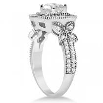 Butterfly Square Halo Diamond Engagement Ring 14k White Gold (0.34ct)