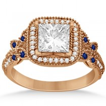 Butterfly Square Halo Sapphire Engagement Ring 14k Rose Gold (0.34ct)