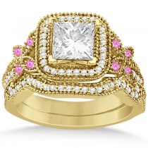 Pink Sapphire Accent Butterfly Halo Bridal Set 14k Yellow Gold 0.51ct