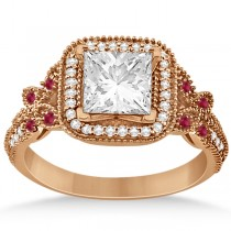 Butterfly Square Halo Ruby Engagement Ring 14k Rose Gold (0.34ct)