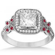 Butterfly Square Halo Ruby Engagement Ring 14k White Gold (0.34ct)