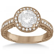 Filigree Carved Halo Diamond Engagement Ring 14k Rose Gold (0.30ct)