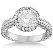Filigree Carved Halo Diamond Engagement Ring 18k White Gold (0.30ct)